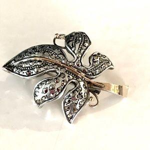 Vintage 1930 Marcasite Grape Leaf Brooch